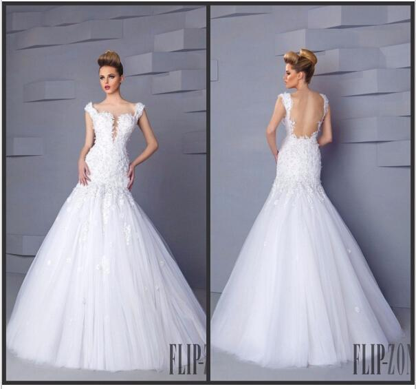 Hochzeit - Spring White Wedding Dresses Backless Lace Straps Spaghetti 2015 New Arrival Sheer Mermaid Applique Bridal Gowns Floor Length Tulle Cheap Online with $123.72/Piece on Hjklp88's Store