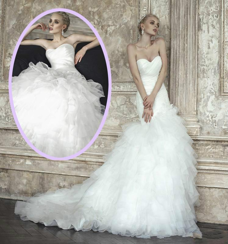 Mermaid Wedding Dresses Pleated : Charming mermaid wedding dresses cascading ruffle tiers