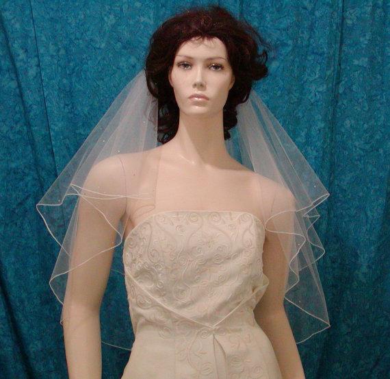 Свадьба - Ivory Elbow length Bridal Veil two tier sprinkled with Rhinestones
