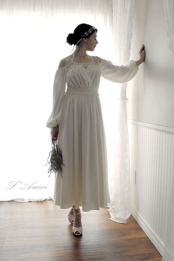 Boda - Custom made -Sweet Princess Kathryn-  off Shoulder long-sleeved chiffon lace woodland / beach wedding  dress - AM1982780
