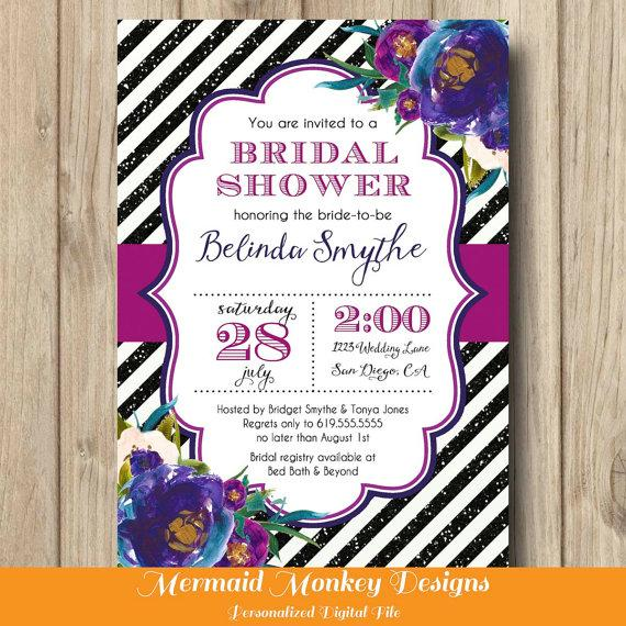 Hochzeit - Bridal Shower Invitation, Wedding Shower Invitation, Floral Invitation, Glitter Invitation, Purple Navy Black - Belinda