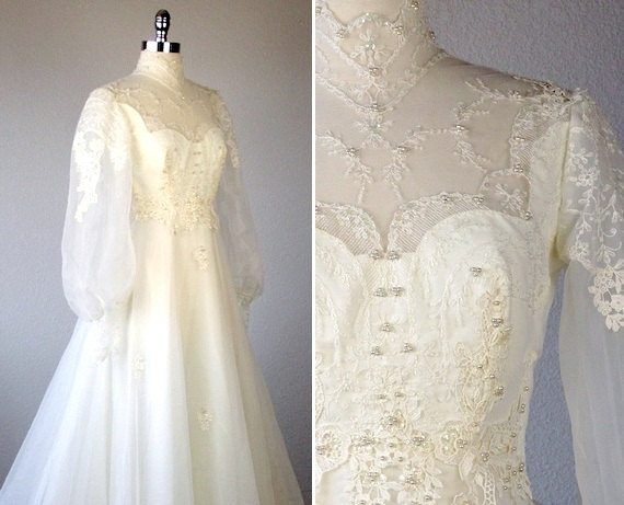Hochzeit - Vintage Wedding Dress, Victorian Wedding Dress, 1970s Wedding Dress, 70s Wedding Dress, White Wedding Dress, Wedding Dress with Sleeves