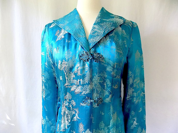 Hochzeit - Vintage Silk Robe & Pajama Set in Blue from China