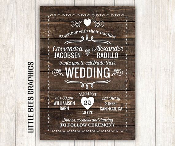 Wedding - Rustic Wedding Invitation, Wood Printable Wedding Invitation, Wedding Invitation with RSVP, any color, free customizations