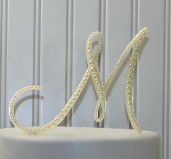 Pearl Monogram Wedding Cake Topper Decorated With A Line Of Pearls In Any Letter A B C D E F G H