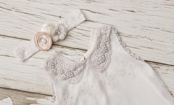 Hochzeit - Ivory lace flower girl dress, Vintage  dress for girl, Rustic flower girl dress, Lace girl dress.Toddler lace dress. Little girl dress.