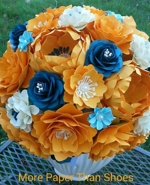 زفاف - Paper Flower Bouquet - Wedding Bouquet - Bridal Bouquet - Orange and Navy - Customize Your Colors - Made To Order