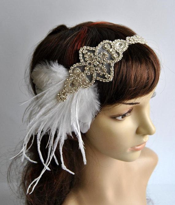 زفاف - 1920's rhinestone feather flapper headband, Bridal Head Piece, Flapper, Great Gatsby, rhinestones Crystal ribbon bridal wedding Headband