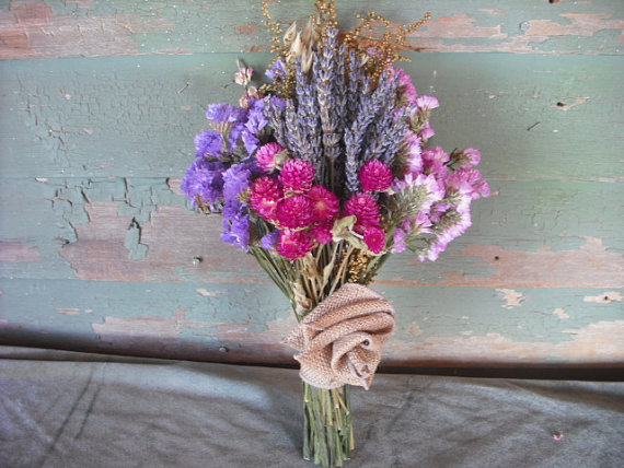 Wedding - Simple dried flower bridal bouquet in shades of Lavender and rose with burlap rose.