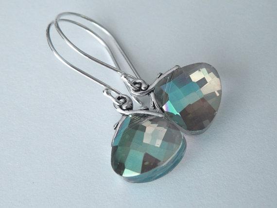 زفاف - Peacock Earrings,  Sterling Silver Earrings, Green Dangle Earrings, Wedding Jewelry, Birthstone Drop Earrings