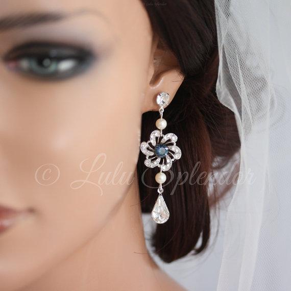 Mariage - Wedding Earrings Vintage Flower Bridal Earrings Sapphire Blue Montana Pick your Blue  SABINE LONG EARRINGS