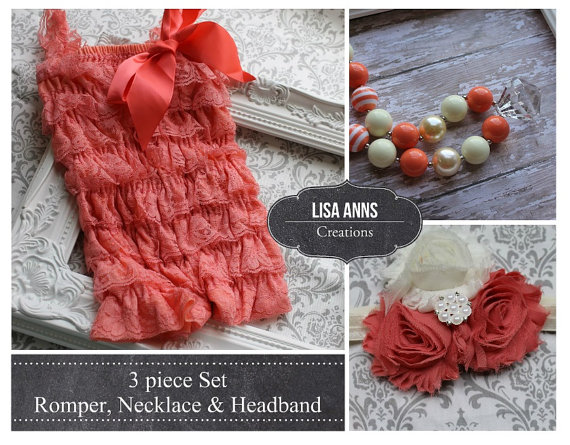 Mariage - Coral Lace Romper Set  Chunky Necklace & Headband Cake Smash 1st Birthday Wedding outfit Spring Easter Outfit Petti Romper Baby Girl Romper