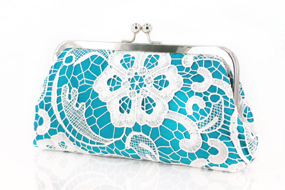 Mariage - Turquoise Lace Clutch for Bridesmaids and flower girl