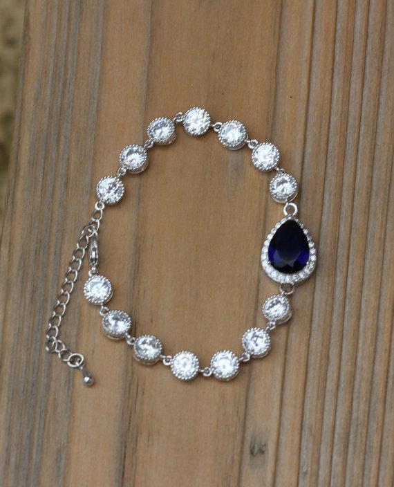 زفاف - blue bridal bracelet sapphire blue bracelet wedding bracelet bridal jewelry
