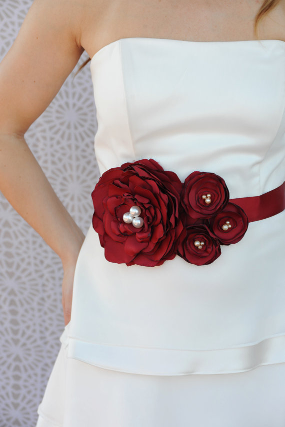 Bridal Sash, Wedding Dress Sash, Bridal Belt - Bordeaux Red Flowers ...