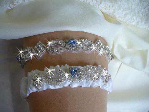 Mariage - Something Blue Wedding Garter Set, Regular or Queen Size Wedding Garter Set, Bridal Garter Belts, Rhinestone Wedding Garder, Bling Garter