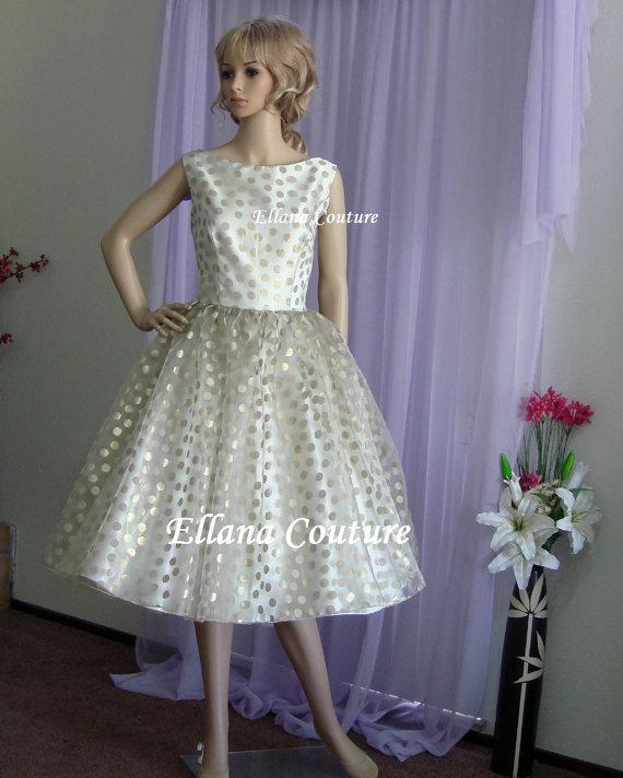Hochzeit - Ella - Vintage Style Gold Polka Dot Wedding Dress. Tea Length.