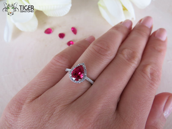 Mariage - 1.5 Carat Pear Cut Halo Engagement Ring,  Vintage Style, Man Made Ruby & Diamond Simulants, Wedding, Sterling Silver, Bridal, Promise Ring