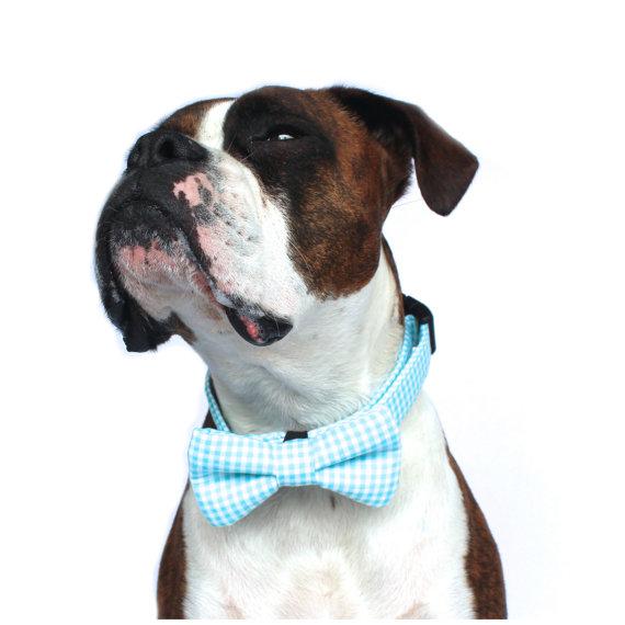 Свадьба - Dog Bow Tie, Nautical Dog Bow Tie, Plaid Bow Tie, Doggie Bow Tie