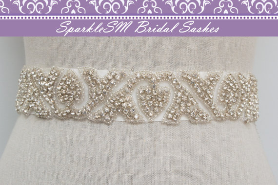 Hochzeit - Wedding Belt, Bridal Sash, Bridal Belts, Bridal Dress Sash, Bridal Sash Belts, SparkleSM Bridal Sashes, Rhinestone Bridal Sash - Zara