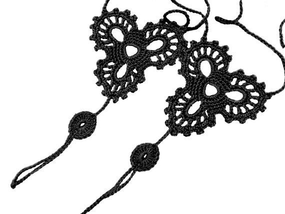 زفاف - Crochet Black Barefoot Sandals, Nude shoes, Foot bohemian jewelry, Victorian Lace, Sexy Yoga Anklet, Steampunk, Feet thongs, Boho accessorie