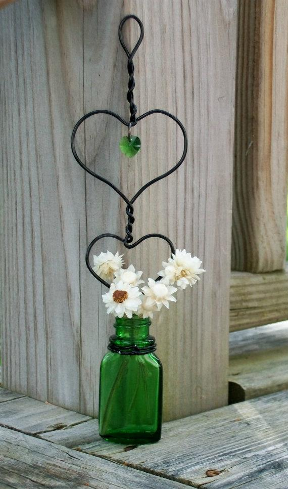 Hochzeit - One Unique Antique Heart Within A Heart Hanging Green Glass Rooting Vase With Green Swarovski Crystal With A Free Mini Bouquet Of Ammobium