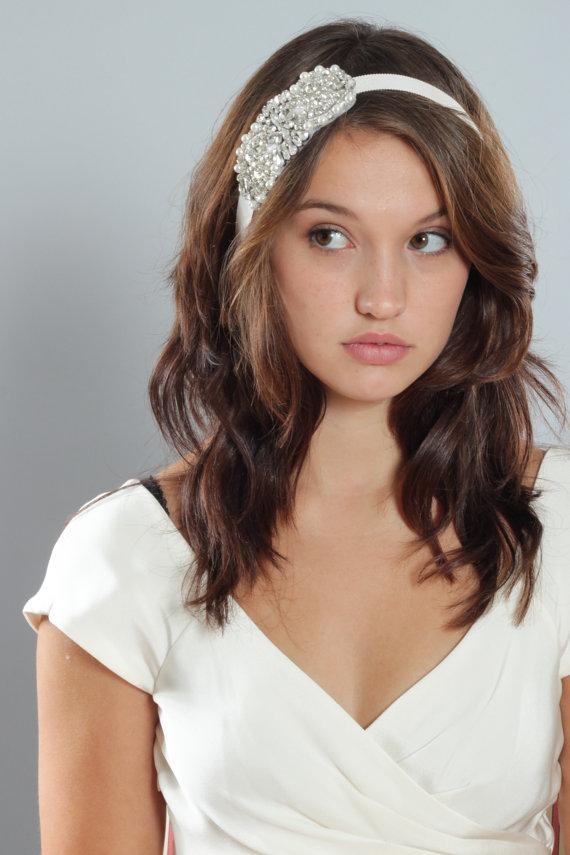 زفاف - Handcrafted Pearl & Crystal Bridal Headband on Ivory Ribbon Alternate Belt Sash Headpiece Wedding Accessory Off-White Bling Belt - 1000378