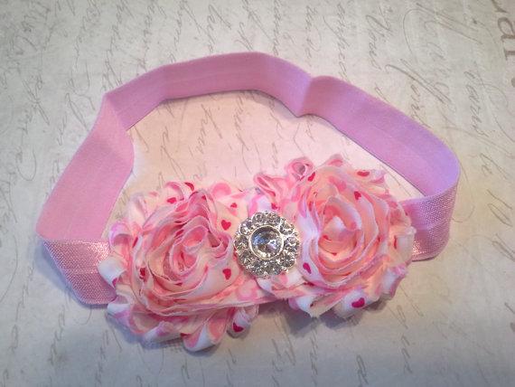 Свадьба - baby headbands, baby girl headband, shabby chiffon headband , valentines headband, heart headband,  wedding headband, red white headband