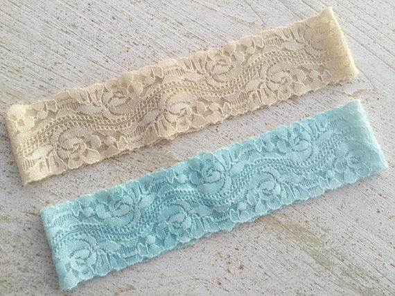 Wedding - Plain Lace Wedding Garter / Any Color Lace Wedding Garter / Simple Lace Bridal Garter / Blue Lace Wedding Garter / Simple Wedding Garter