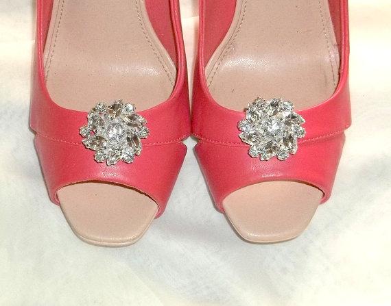 Wedding - Wedding Bridal Shoe Clips large Clear Rhinestone Shoe Clips Bridal Wedding  Silver Shoe Clips - set of 2 -