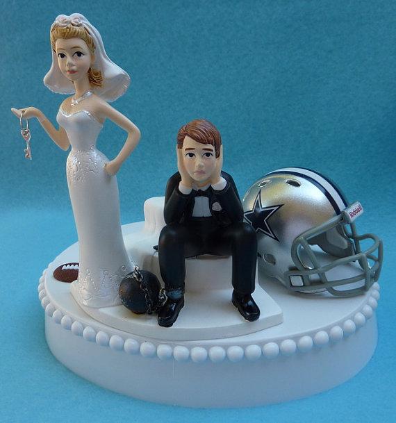 Wedding Cake Topper Dallas Cowboys Football Themed Ball And Chain Key W Garter Sports Fan Bride