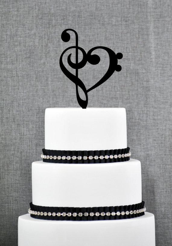 Mariage - Treble Bass Clef Heart Wedding Cake Topper, Music Heart Wedding Cake Topper, Music Wedding, Custom Colors- (S065)