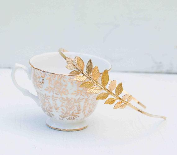 Mariage - GOLD Headband Golden Leaf Wedding Grecian Romantic Bridal Gold Woodland Garden