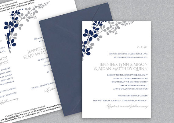 Hochzeit - DiY Printable Wedding Invitation Template - Download Instantly - EDITABLE TEXT - Exquisite Vines (Navy & Silver)  - Microsoft® Word Format