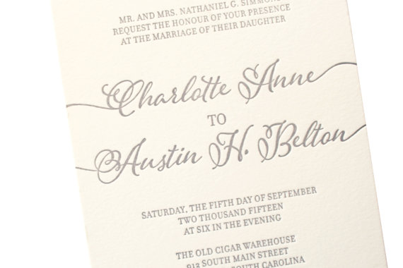 Modern Calligraphy Letterpress Wedding Invitation Hand