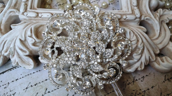 Свадьба - Extra Large Authentic Rhinestone Brooch ~ Rhinestone Crystal Brooch ~ Brooch Bouquet, Bridal Jewelry, Costume Jewelry, Crafting, etc RH-108