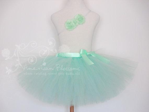 Mariage - Mint Flower Girl Tutu Mint Tutu Skirt Solid Mint Headband Toddler Flower Girl Baby Tutu Mint Wedding Photo Prop by American Blossoms