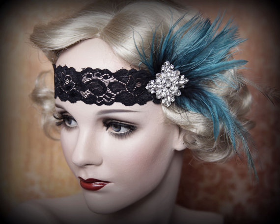 Свадьба - Flapper Headband-Feather Headband-1920's-Gatsby Party- Wedding- Rhinestone with feather Accents