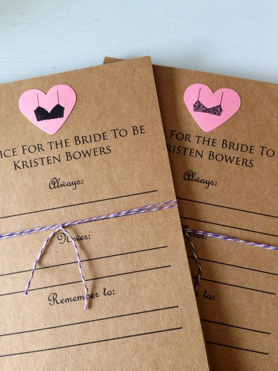 Advice For The Bride To Be Cards. Bridal Shower. Lingerie Party ...