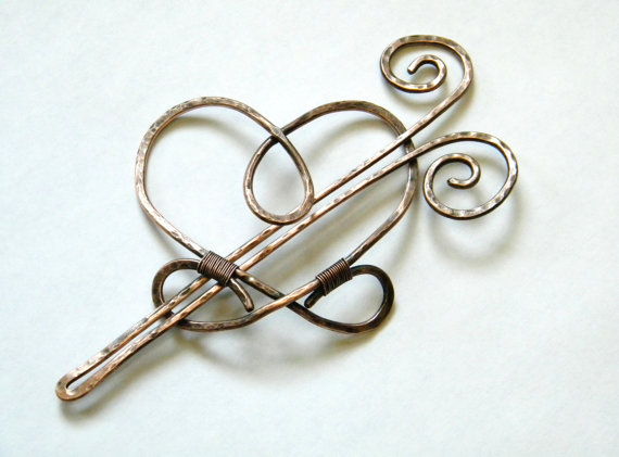 Свадьба - Large Barrette, Hair Sticks, Hair Fork, Hair Clip, Love, Hair Accessories, Long Hair Clip, Hair Slide, Copper, Bridal Headpiece, Women