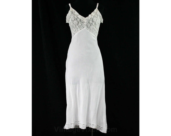 Свадьба - Size 0 Rayon 1930s Slip - White Silky Soft Bias Cut - 30s Lingerie - XXS Full Slip - Sheer Lace Bust - Ruffled Neckline - Bust 32.5 - 44150