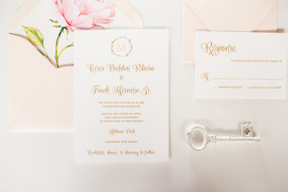 Peony Custom Letterpress Foil Gold Wedding Invitations Custom