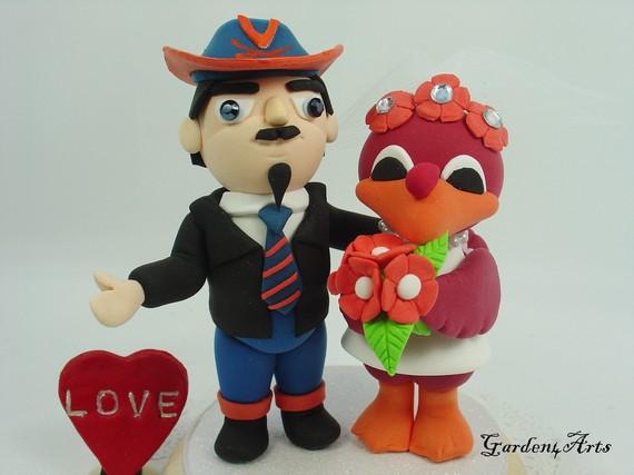 Custom Mascot Wedding Cake Topper Uva Vt Love College Mascot
