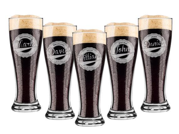زفاف - Groomsmen Gift, 9 Personalized Beer Glasses, Custom Engraved Pilsner Glass, Wedding Party Gifts