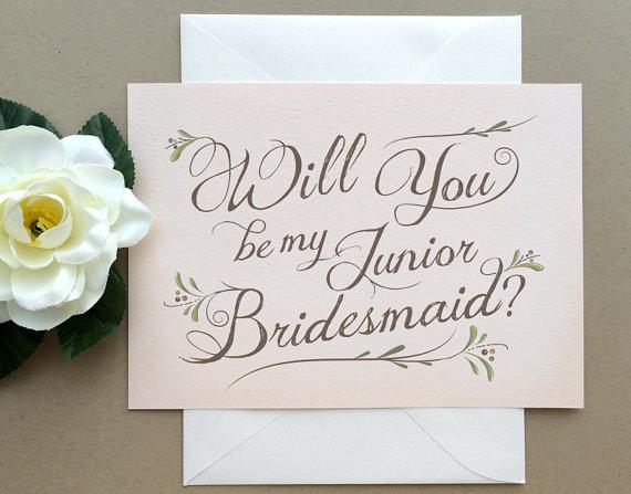 زفاف - Junior Bridesmaid Card -  Will You Be My Junior Bridesmaid? Card -  Bohemian Chic Blush Pink