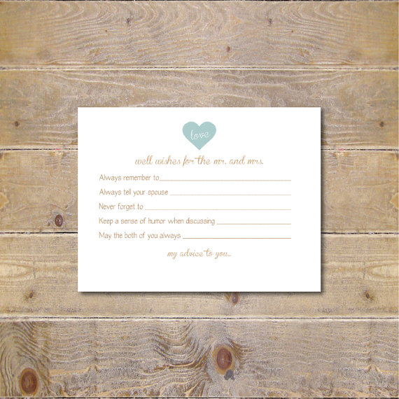 Printable advice cards bridal shower advice cards bridal for Bridal shower advice cards template