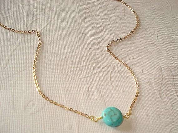 زفاف - Turquoise Bead Necklace Blue Coin Necklace  Little Blue Bead Necklace  Turquoise Jewelry Bridesmaid Necklace