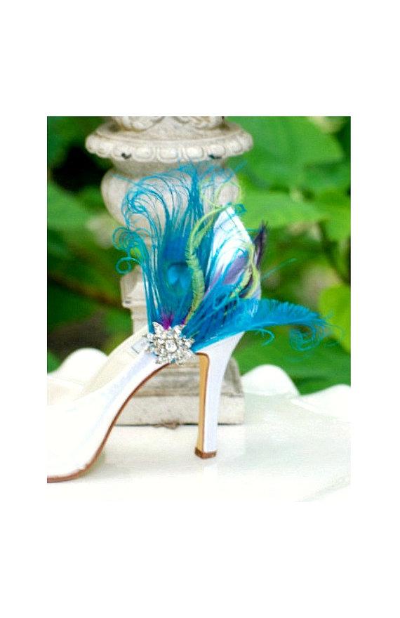 زفاف - Wedding Shoe Clips. Turquoise Peacock Sword Feather & Rhinestone Crystal. Bride Bridal Bridesmaid Couture, Statement Schuh-Clips Pfau Gift