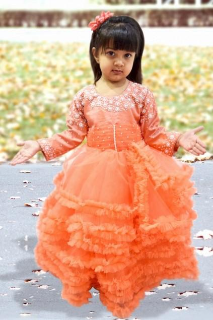 Wedding - Beautiful Peach Color Multi Layered Gown for Indian Girl with Intricate Pearl Work