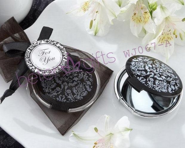 free shipping 100pcs black pocket lady mirror wedding souvenir